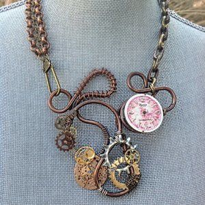 Artisan Handcrafted Steampunk Mixed Media Necklace